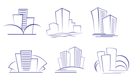 Set of modern building symbols for design Stock Vector - 5876341