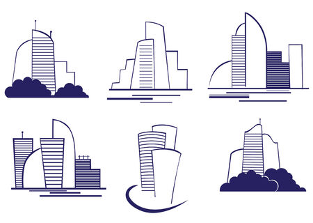 Set of modern building symbols for design Vector