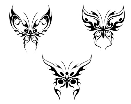 Isolated tattoos of butterfly on white background Stock Vector - 5876342