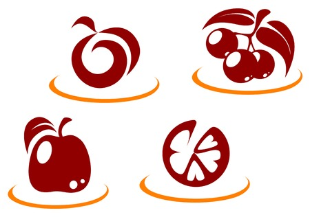 peach tree: Fresh fruit symbols for design or concept