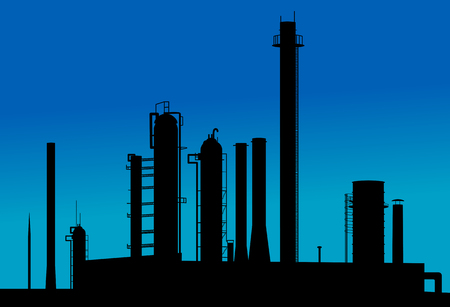 Manufacturing plant: Silhouette of industrial factory on sunset time
