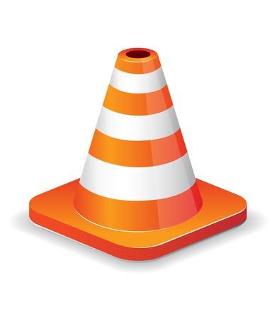 Icône de cône de trafic brillant isolée sur blanc pour la conception