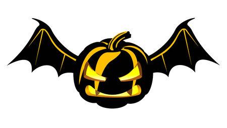 Dark and danger halloween pumpkin with wings Vector