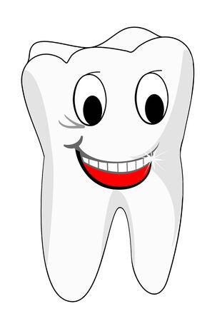 diente caricatura: White smiling dientes como un concepto de salud o un s�mbolo