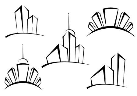 logotipo de construccion: S�mbolos de modernos edificios de dise�o como un concepto de bienes ra�ces Vectores