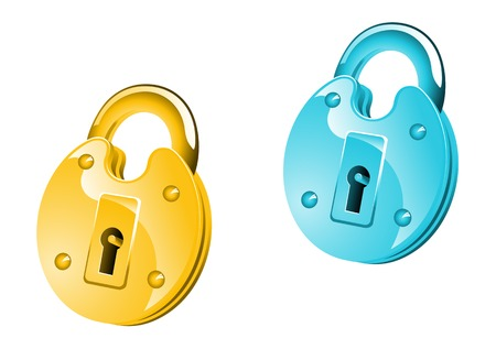 Glossy lock icon for web design or security concept Stock Vector - 5962187