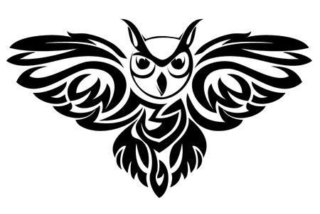 prey: Black owl symbol isolated on white as a wisdom concept
