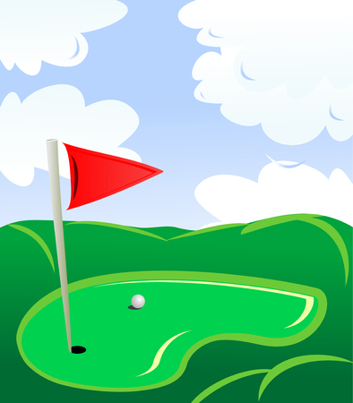 tee: Golf field landscape as a concept of golf game Illustration