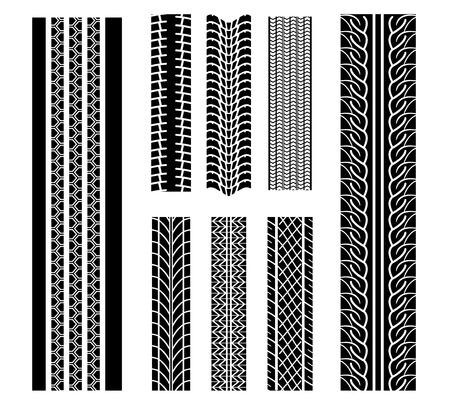 motricit�: Ensemble de patrons de pneus de conception isol� sur fond blanc