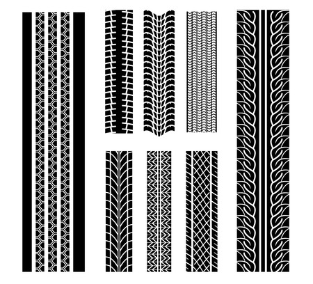 tread: Set of tire patterns for design isolated on white