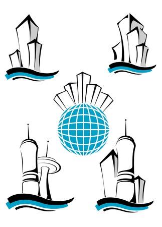 logotipo de construccion: S�mbolos de edificios modernos como un concepto de negocio inmobiliario Vectores