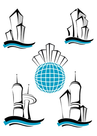 architecture logo: Symbols of modern buildings as a concept of real estate business