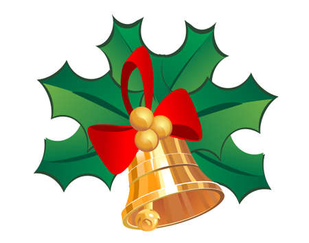 Christmas bell in holly leaves as a symbol of holiday Vector