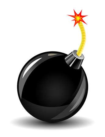 bombing: Glanzende bom pictogram op wit als een gevaar concept