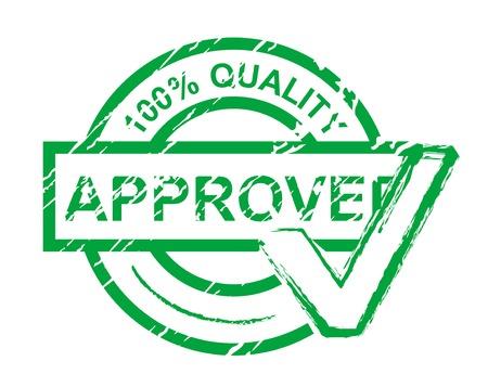 tampon approuv�: V�rifier le timbre agr�� islated sur blanc pour la conception