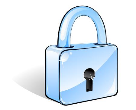 to lock: Icona di blocco lucida per il concetto di web design o sicurezza