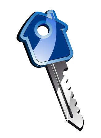 estate car: House metallic key isolated on white as a concept of real estate