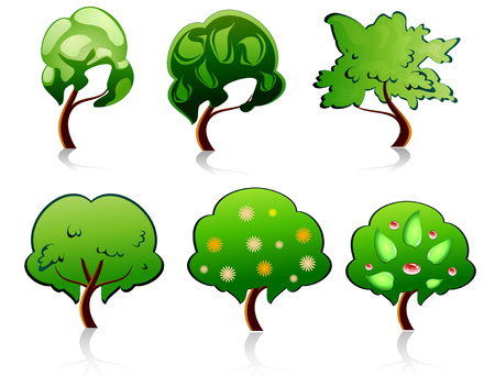 Set of tree symbols for deign or ecology emblems Vector