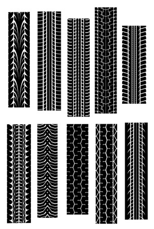 treads: Set of tire shapes isolated on white for design Illustration