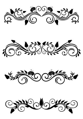 Vintage floral decorations isolated on white for design Vector