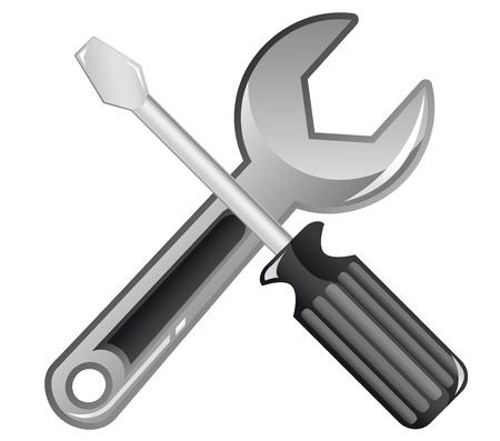 Icono de llave inglesa y el destornillador para diseño web