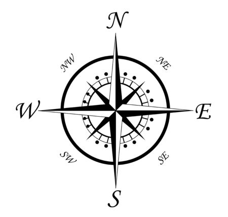 위도: Compass symbol isolated on white for design
