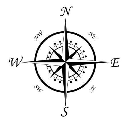 Símbolo de brújula aislado en blanco para el diseño