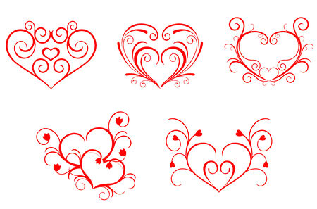 Red valentine hearts in floral style for design Vector