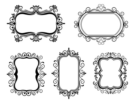 Antique vintage frames isolated on white for design Stock Vector - 6198554