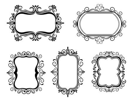 Antique vintage frames isolated on white for design Illustration