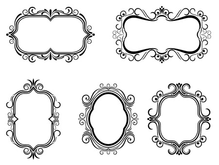 placards: Antique vintage frames isolated on white for design Illustration