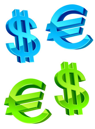 currency symbols: Glossy currency symbols of USA dollar and euro