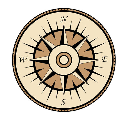 Compass symbol isolated on white for design Vector