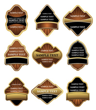 Set of brown and gold labels for design Stock Vector - 6250890