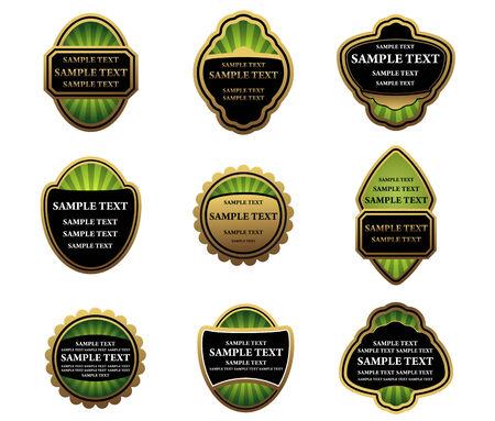 Set of gold labels for design food and beverages Vector