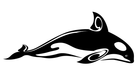 whales: Wild whale tattoo for design isolated on white Illustration