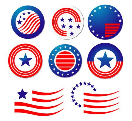 politic: American patriotic symbols set for design and decorate