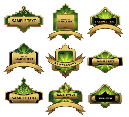 Set of gold vintage labels for design food and beverages Stock Vector - 6265594