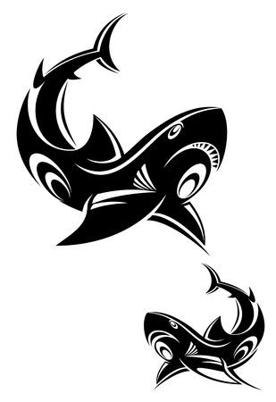 murderer: Black shark tattoo for design isolated on white Illustration