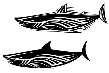 Black shark tattoo for design isolated on white Stock Vector - 6310571