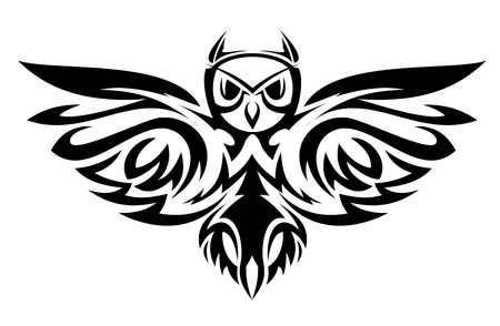 Black owl symbol isolated on white as a wisdom concept Stock Vector - 6310574