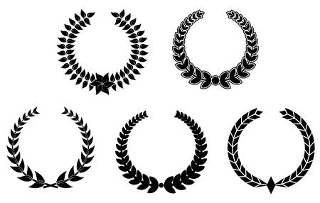 laurel leaf: Conjunto de coronas de laurel negro para el dise�o