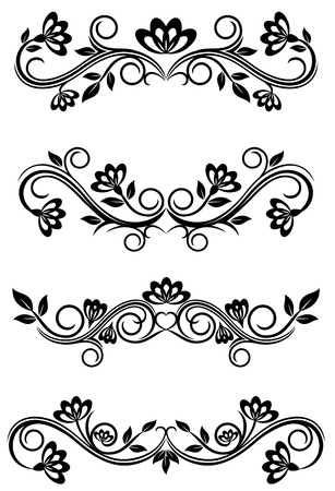 revival: Antique vintage frames isolated on white for design Illustration
