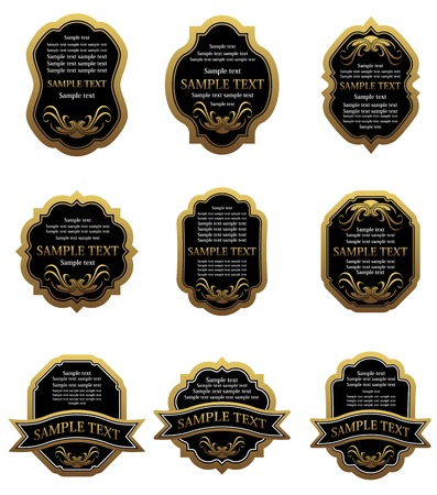 Set of vintage gold labels for design food and beverages Stock Vector - 6310587