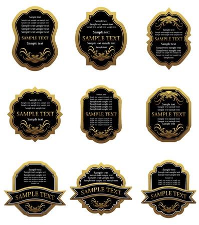 golden shield: Set of vintage gold labels for design food and beverages