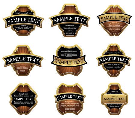 Set of golden vintage labels for design food and beverages Vector