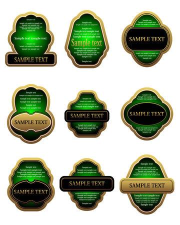 Set of vintage gold labels for design food and beverages Stock Vector - 6352326