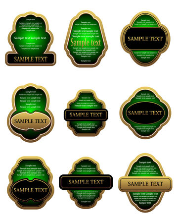 Set of vintage gold labels for design food and beverages Stock Vector - 6352326