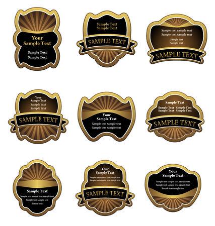 Set of vintage gold labels for design beverages Stock Vector - 6352330