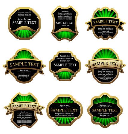 Ensemble de golden étiquettes vintage pour conception aliments et boissons